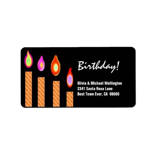 Gold Striped Candles Birthday Address Label