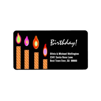 Gold Striped Candles Birthday label