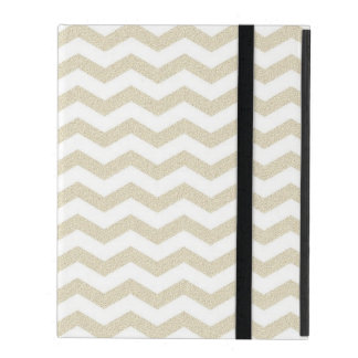 Gold striped chevron zig zag zigzag pattern hipste iPad folio case