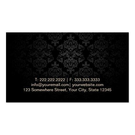 Gold Striped Damask Makeup Artist Business Cards (back side)