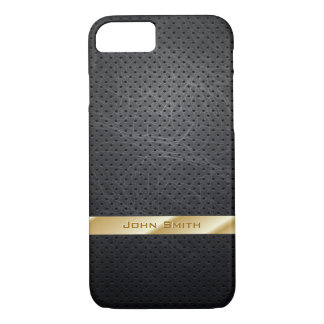 Gold Striped Dark Leather iPhone 7 Case