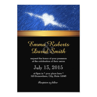 Gold Striped Fall in Love Starry Night Wedding Invitations