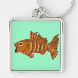 Gold Striped Fish Keychain