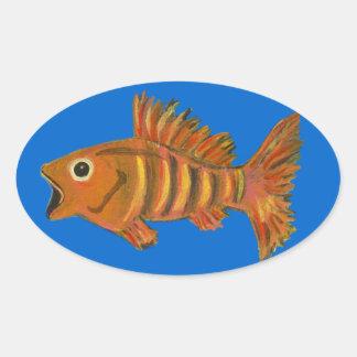 Gold Striped Fish Oval Sticker