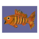 Gold Striped Fish Postcard
