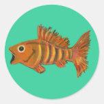 Gold Striped Fish Stickers