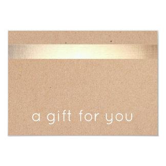 Gold Striped Kraft Tan Cardboard Gift Certificate Card