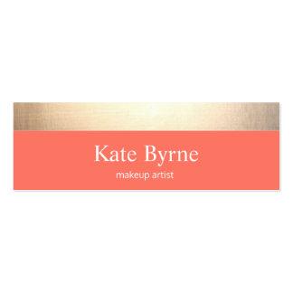Gold Striped Modern Stylish Coral Mini Business Card