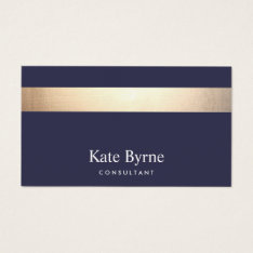 Gold Striped Modern Stylish Navy Blue Business Card at Zazzle