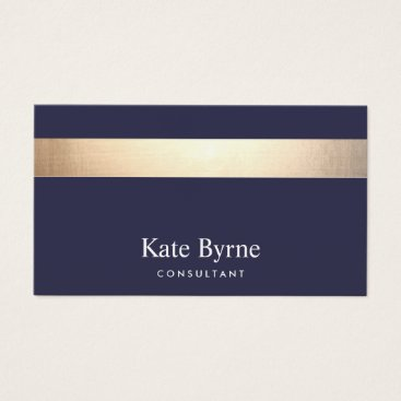 sm_business_cards Gold Striped Modern Stylish Navy Blue Business Card
