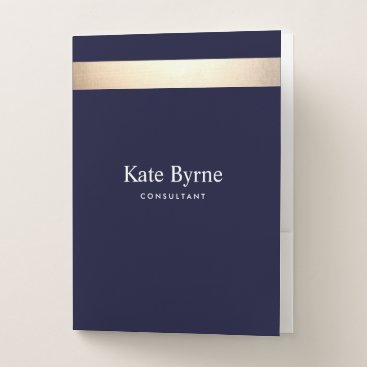 Lawyer Themed Gold Striped Modern Stylish Navy Blue Professional Pocket Folder