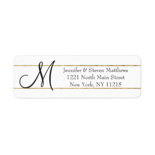 Gold Striped Monogram Initials And Name Labels at Zazzle