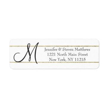 SimpleMonograms Gold Striped Monogram Initials and Name Labels