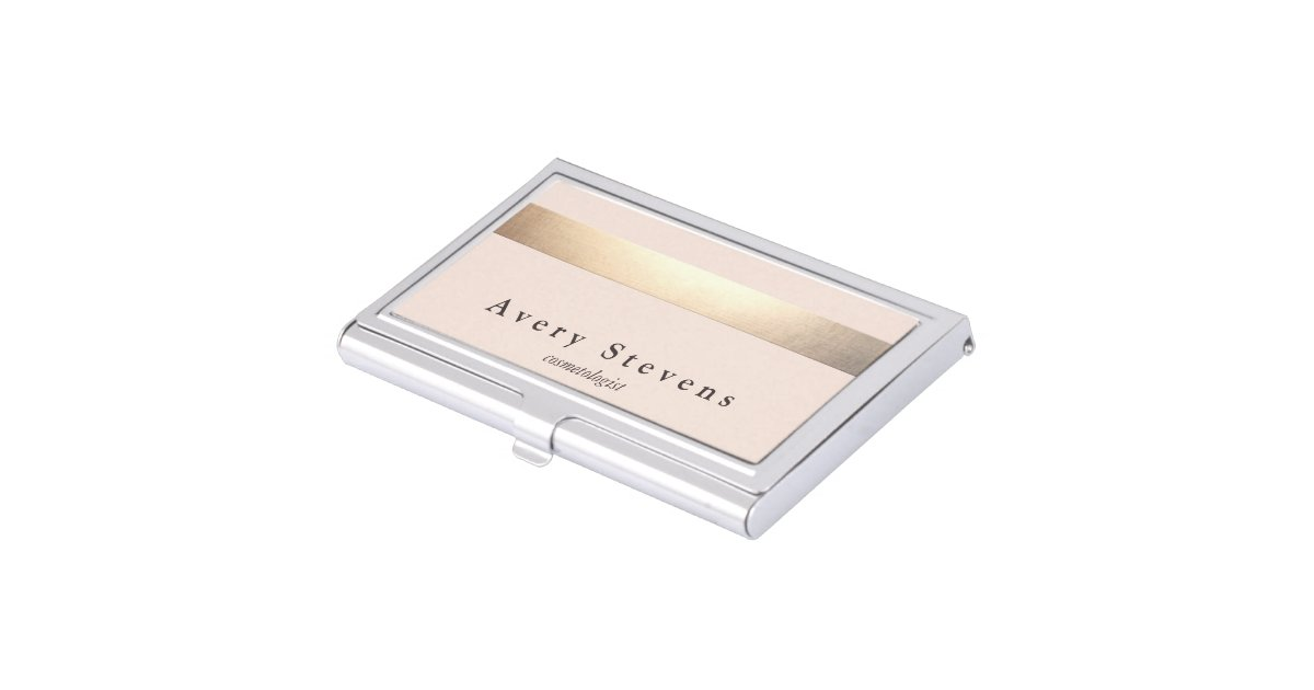 Gold striped no shine modern stylish light pink business for Modern business card case