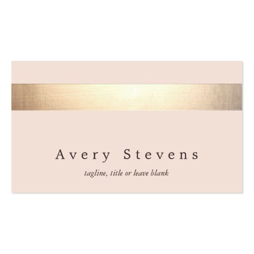 Gold Striped (no shine) Modern Stylish Light Pink Double-sided Standard Business Cards (pack Of 100)
