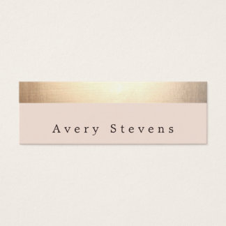 Gold Striped (no shine) Modern Stylish Light Pink Mini Business Card