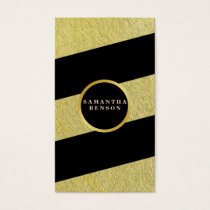 Gold  Striped Pattern Yoga Instructor Business Card