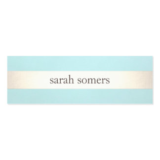 Gold Striped Turquoise Blue Beauty Salon and Spa Mini Business Card