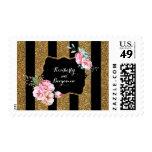 Gold Stripes and Pink Flowers Elegant Wedding Postage