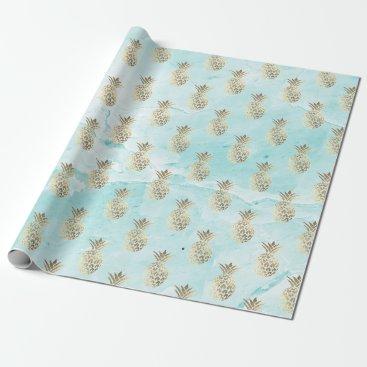 McTiffany Tiffany Aqua gold stripes aqua tiffany  marble pineapple gold wrapping paper
