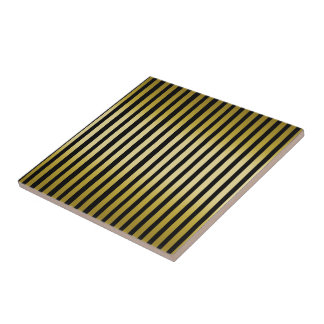 Gold stripes Ceramic Tile on Black