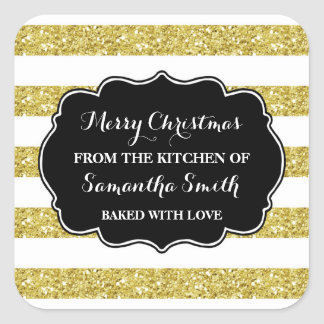 Gold Stripes Christmas Baking Sticker