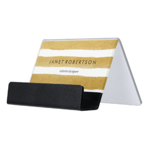Gold Stripes Desk Business Card Holder