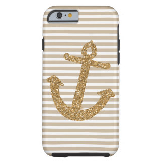 Gold Stripes Faux Glitter Anchor Tough iPhone 6 Case