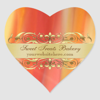 Gold Stripes Heart Cupcake Baking Label Sticker