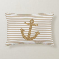 Gold Stripes Nautical Anchor Accent Pillow