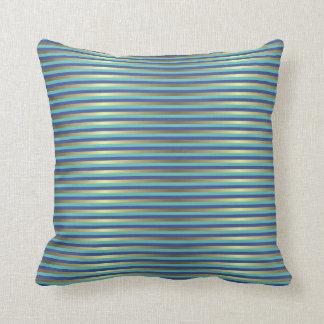 Gold Stripes Nautical Sea Blue Periwinkle Throw Pillow