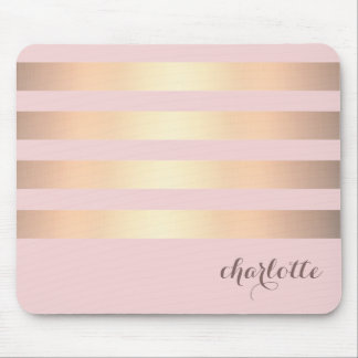 Gold Stripes Pattern Powder Pink Background Mouse Pad