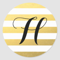 Gold Stripes Pattern with Monogram Classic Round Sticker