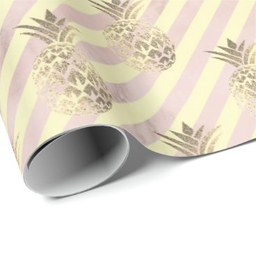 Beach Themed gold stripes pink rose blush marble pineapple gold wrapping paper