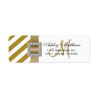 Gold Stripes, Ribbon Monogram for Weddings Label