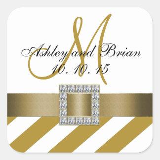 Gold Stripes Ribbon Monogram Wedding Favor Label Square Sticker
