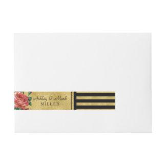 Gold Stripes Rose Flower Vintage by Jo Sunshine Wrap Around Address Label