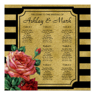 Gold Stripes Rose Flower Wedding Seating Chart Poster