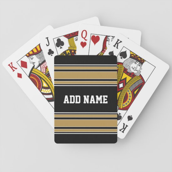 Gold Stripes Sports Jersey Name - CAN EDIT COLOR Playing Cards