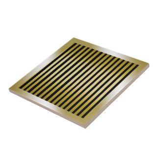 Gold stripes with Frame Ceramic Tile on Black