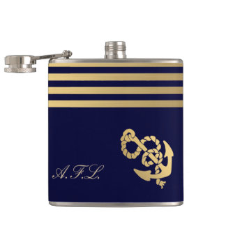 Gold stripes with gold anchor add monogram flask