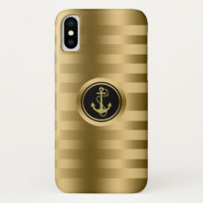 Gold Stripes With Nautical Boat Anchor iPhone X Case
