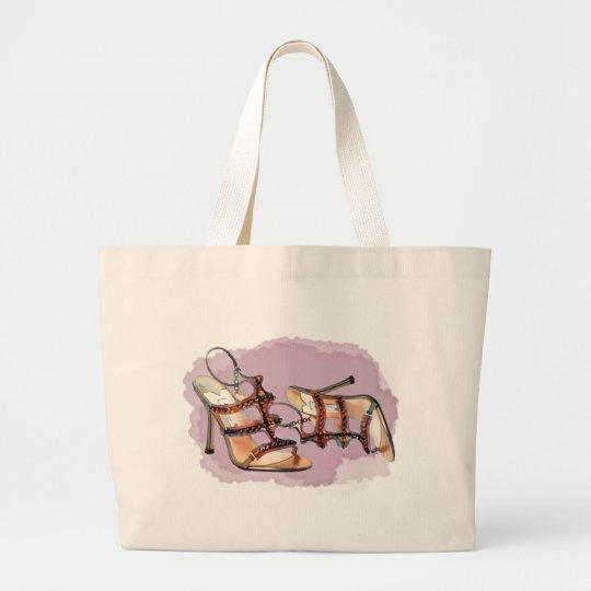 Gold Studded Sandal Stilettos Large Tote Bag