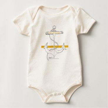 Beach Themed gold sub lieutenant, tony fernandes baby bodysuit