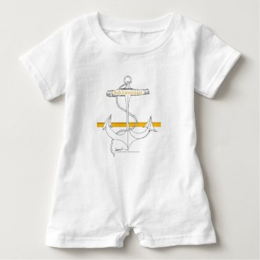 Beach Themed gold sub lieutenant, tony fernandes baby romper