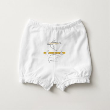 Beach Themed gold sub lieutenant, tony fernandes diaper cover