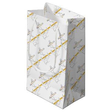 Beach Themed gold sub lieutenant, tony fernandes small gift bag