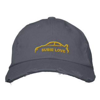 Gold Subie Love Silhouette Stitch Embroidered Baseball Cap