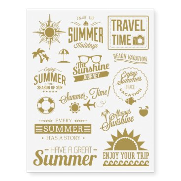 Beach Themed Gold Summer Collection 1 Temporary Tattoos