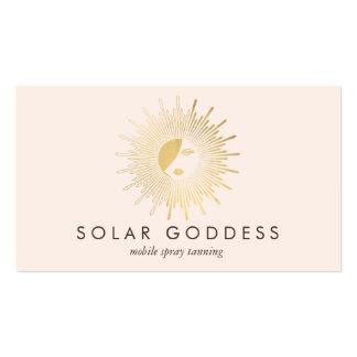 Gold Sun Goddess Girl Spray Tanning Salon Pink Business Card